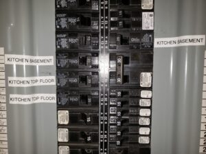 Circuit breakers on a panel